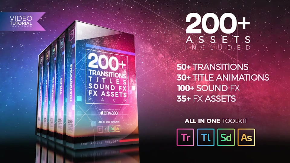 200+ Pack: Transitions, Titles, Sound FX - Download Videohive 21474240