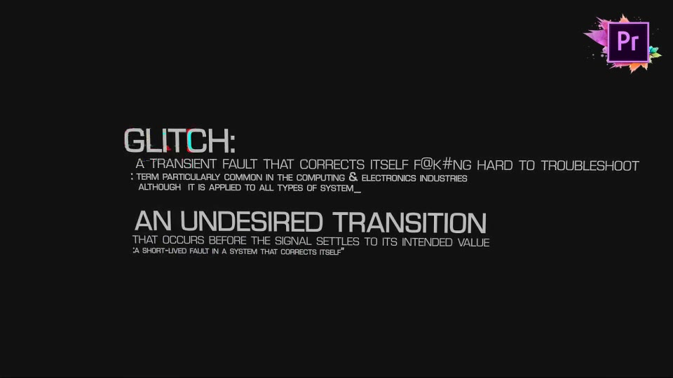 30 Glitch Text Presets | Mogrt - Download Videohive 22557153