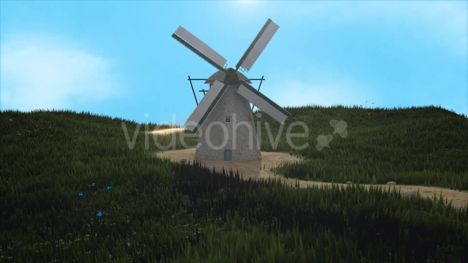 3D Windmill Landscape Background - Download Videohive 17209139
