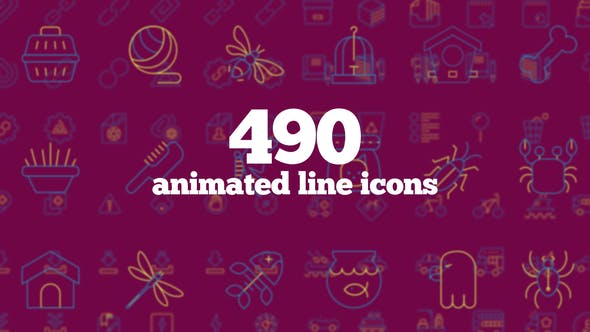 490 Animated Line Icons - Download Videohive 23629751