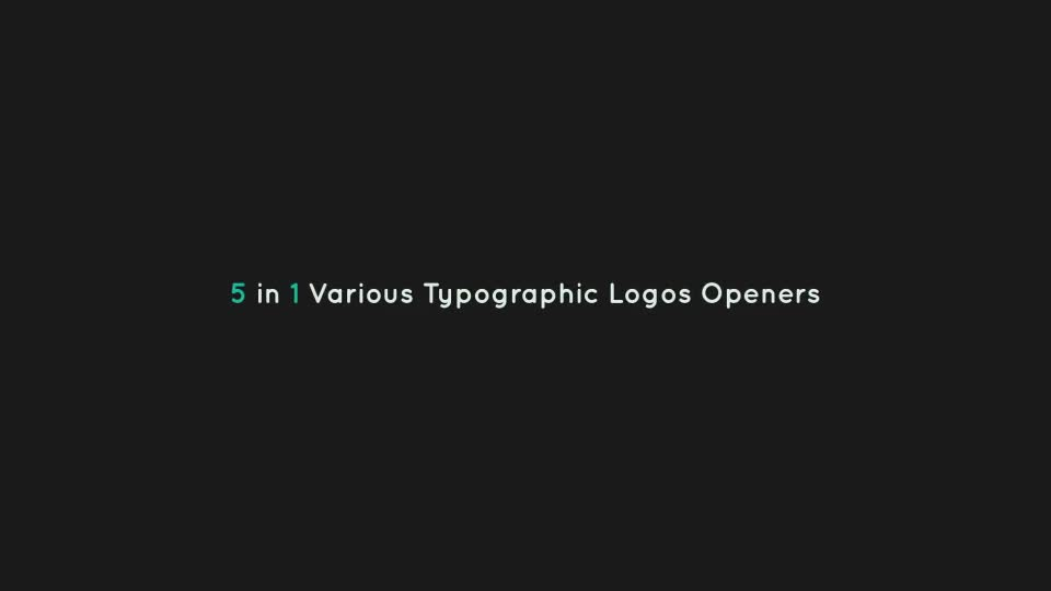 5 Typographic Logos Openers Videohive 10766094 After Effects Image 1