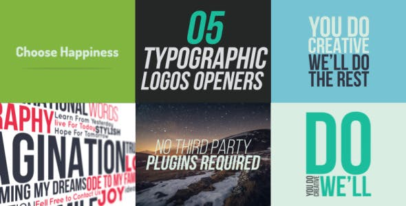 5 Typographic Logos Openers - 10766094 Download Videohive
