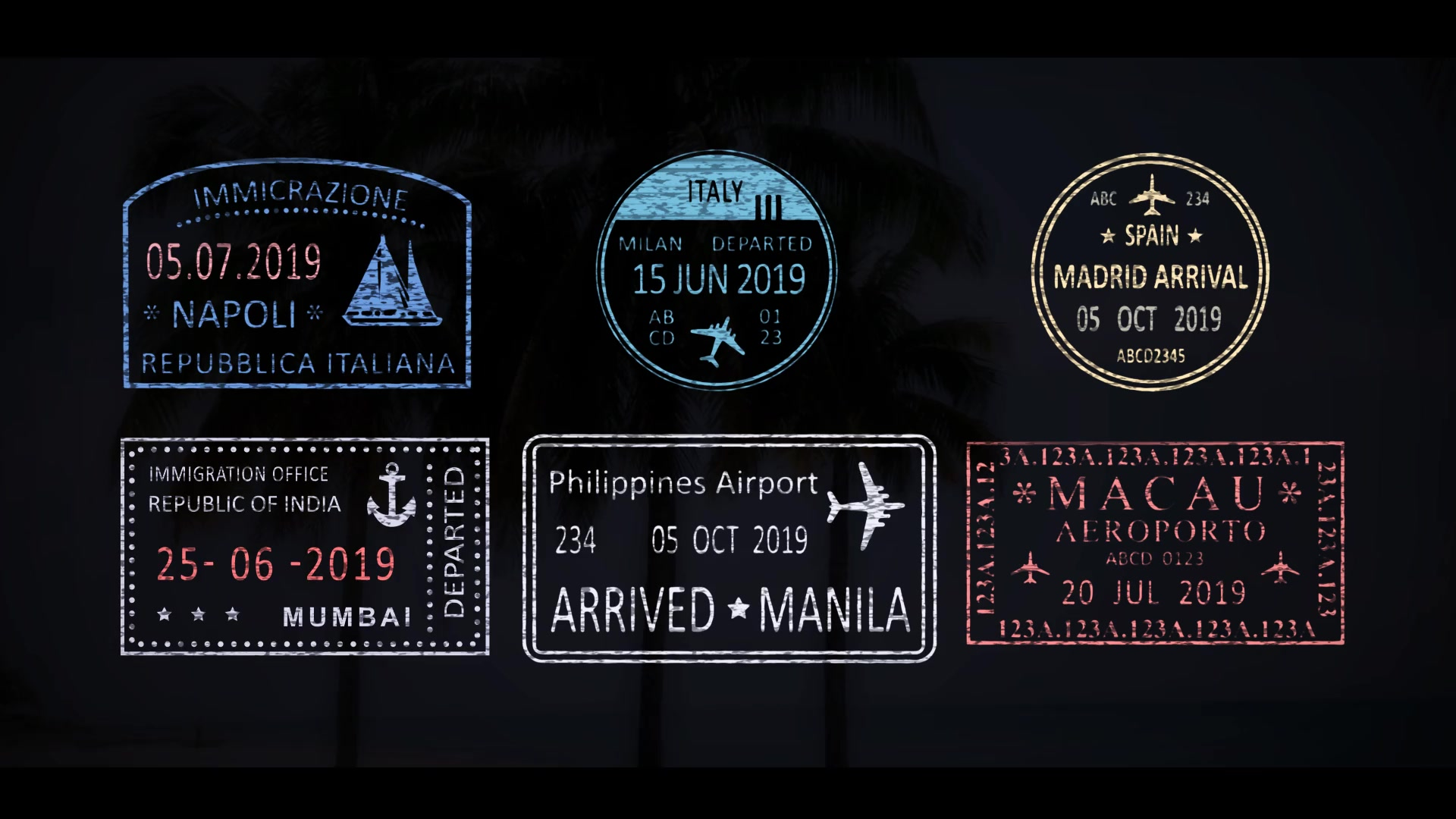 50 Travel Stamps Videohive 23673412 After Effects Image 4