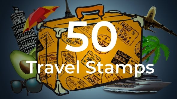 50 Travel Stamps - 23673412 Videohive Download