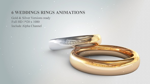 6 3D Wedding Rings Animations - Download Videohive 19774796