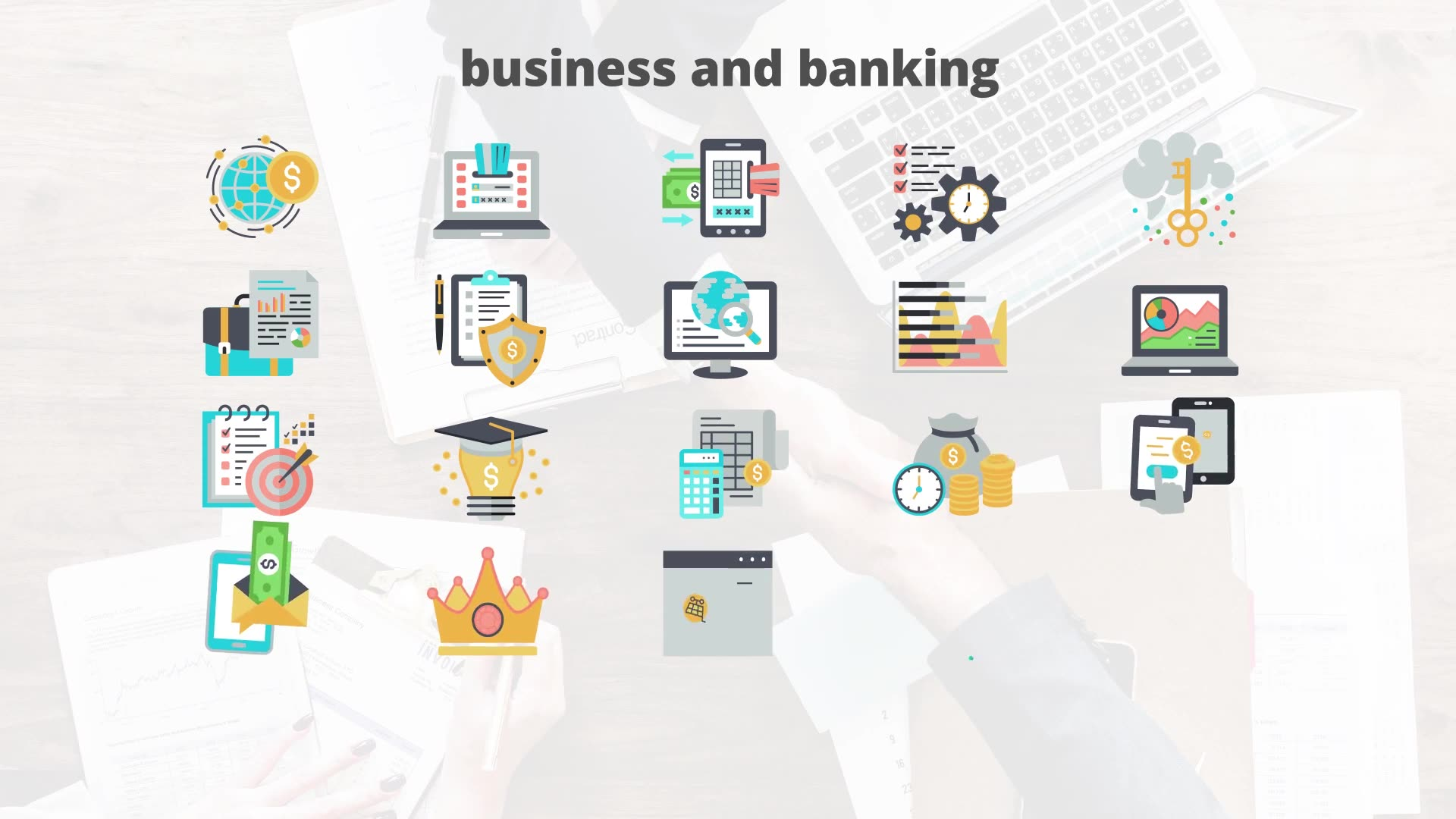 Business And Banking Flat Animation Icons - Download Videohive 23465873