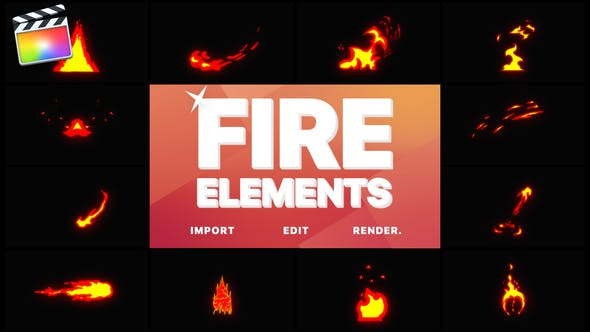Cartoon Fire Elements | Final Cut - 23706308 Download Videohive