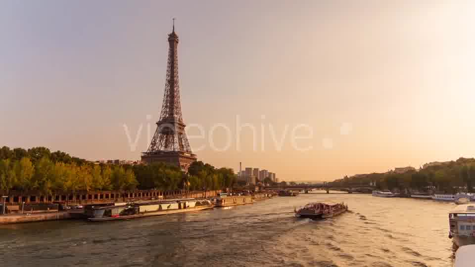 Eiffel Tower by The Seine River, Evening, Paris  - Download Videohive 8843475