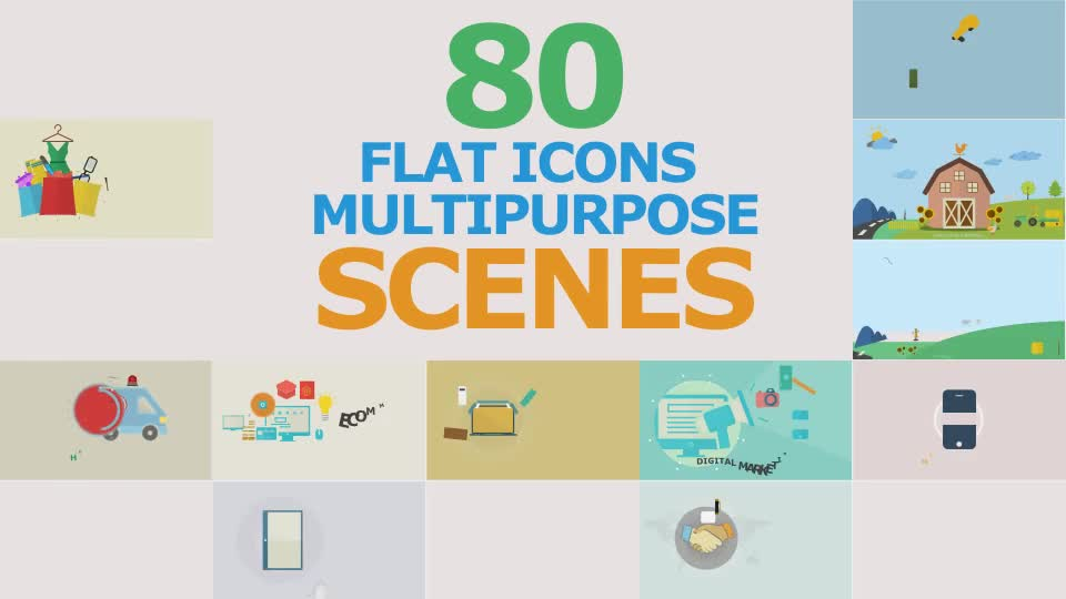 Flat Icons Multipurpose Scenes - Download Videohive 17302999