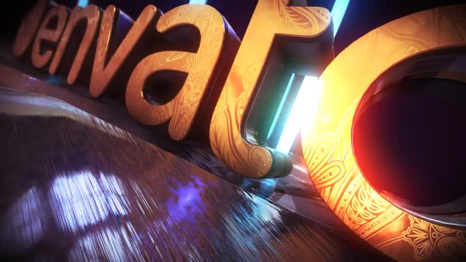 Golden Neon Logo Intro - Download Videohive 21255299