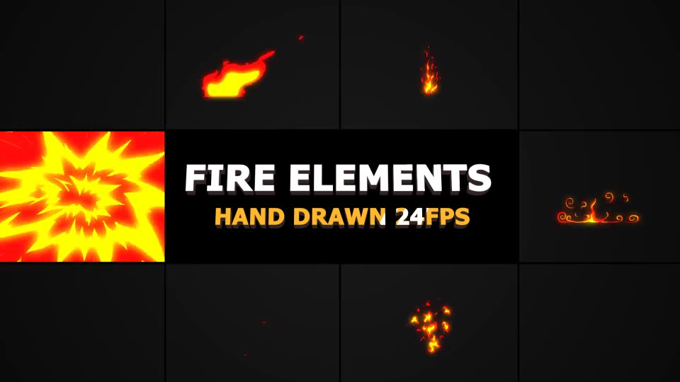 Hand Drawn FIRE Elements 24 fps - Download Videohive 21283297