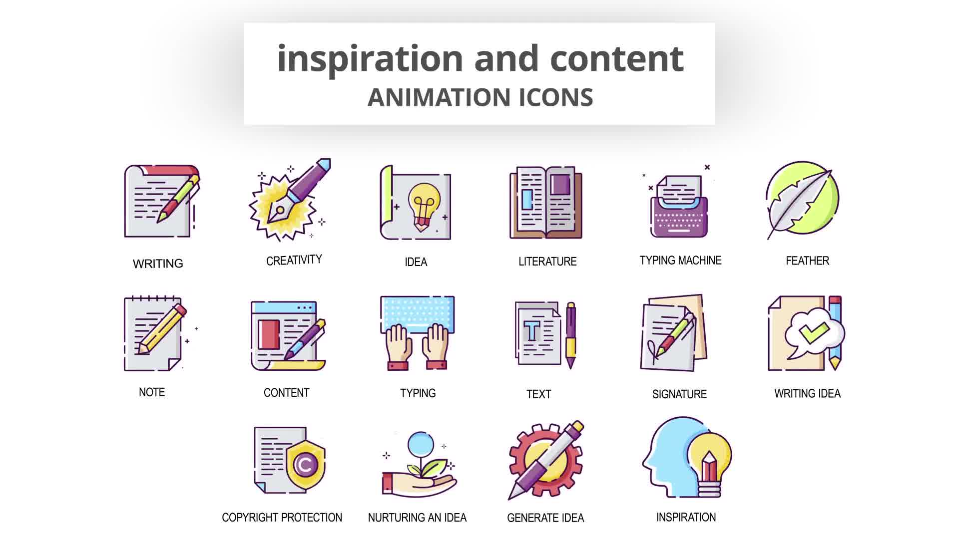 Inspiration & Content Animation Icons Videohive 30041554 After Effects Image 10