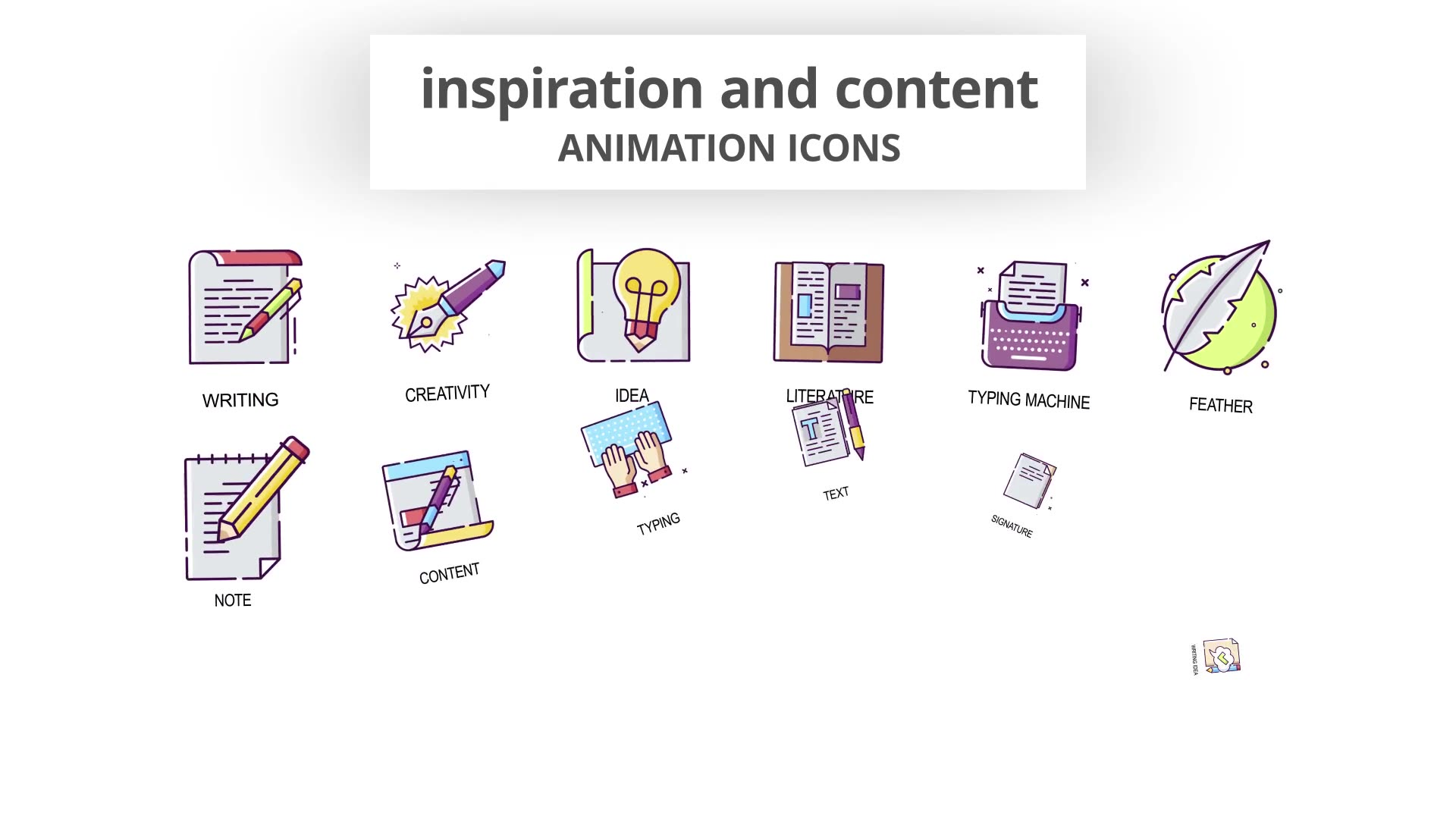 Inspiration & Content Animation Icons Videohive 30041554 After Effects Image 4