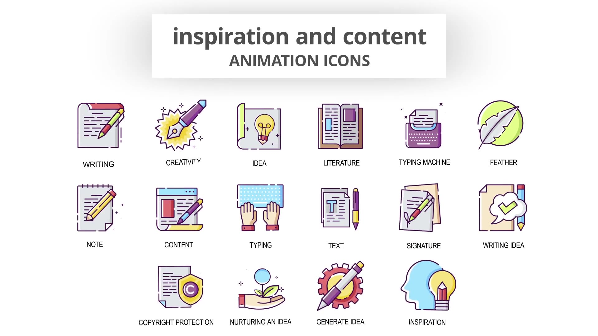 Inspiration & Content Animation Icons Videohive 30041554 After Effects Image 5