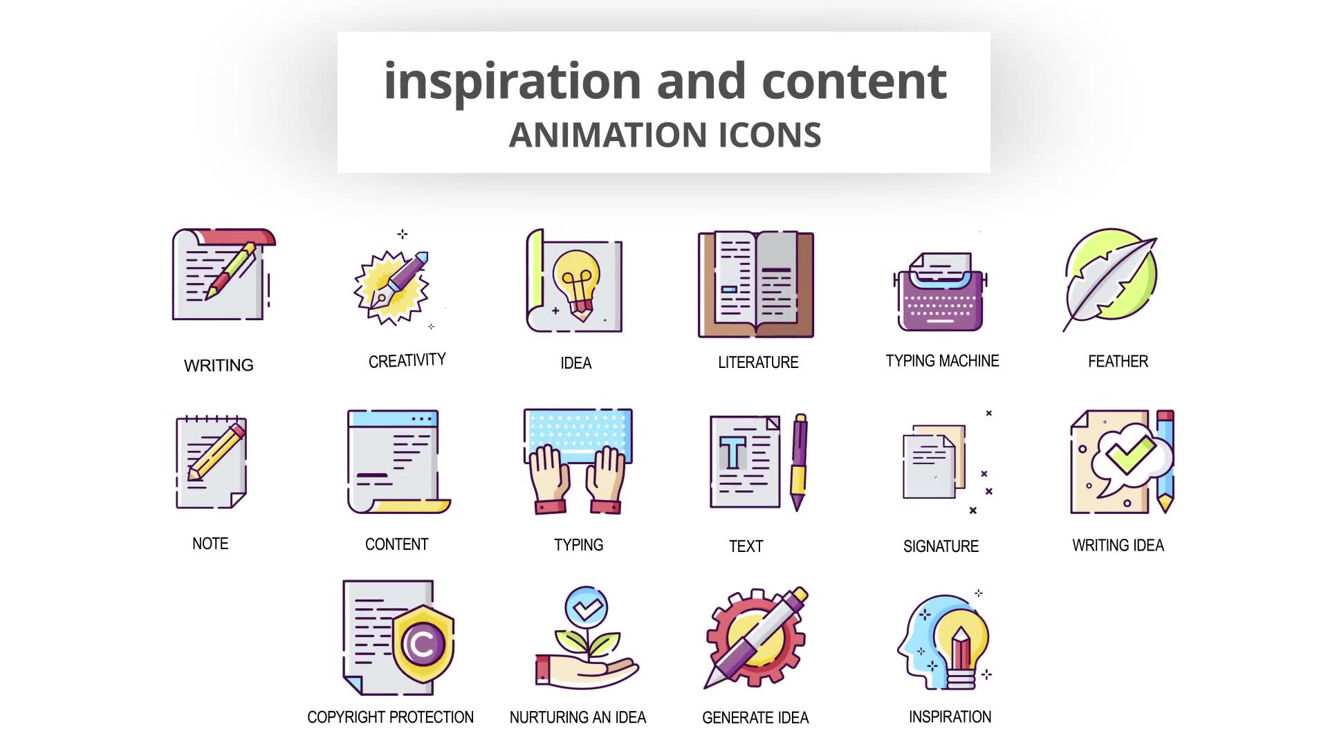 Inspiration & Content Animation Icons Videohive 30041554 After Effects Image 6