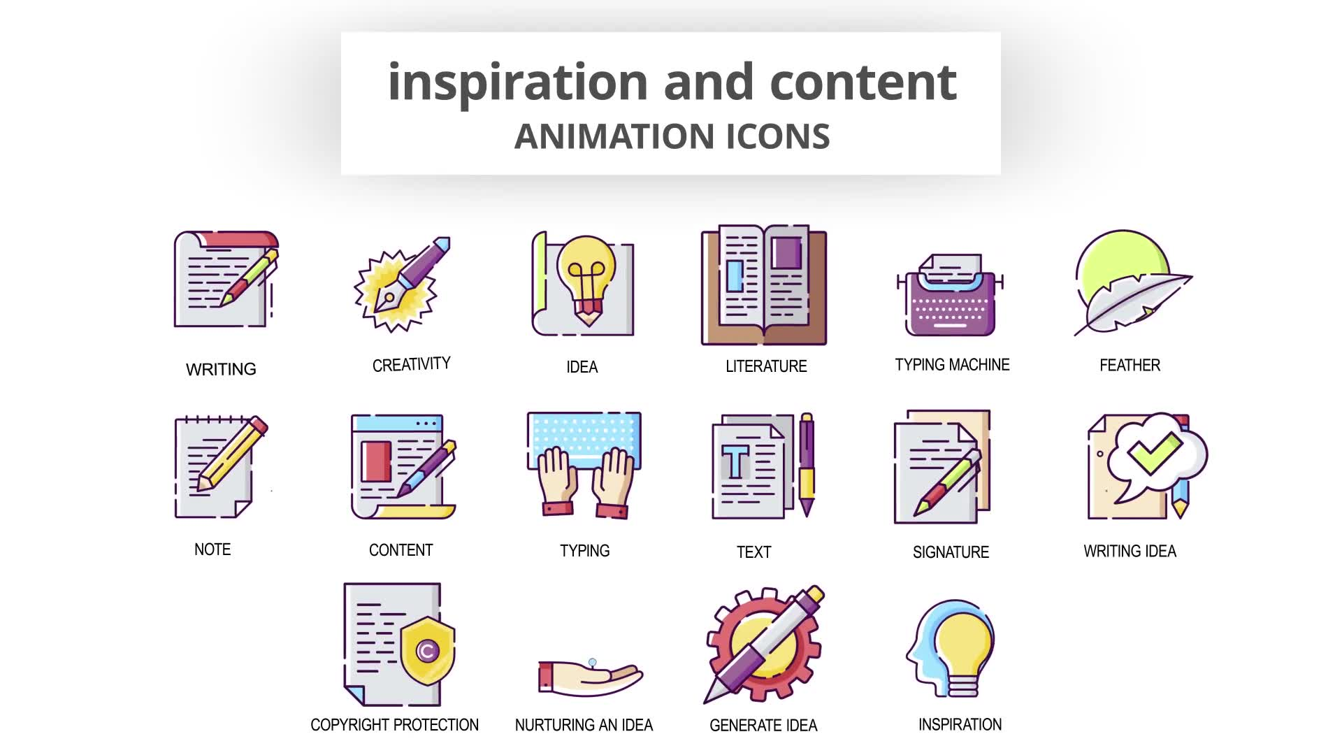 Inspiration & Content Animation Icons Videohive 30041554 After Effects Image 7