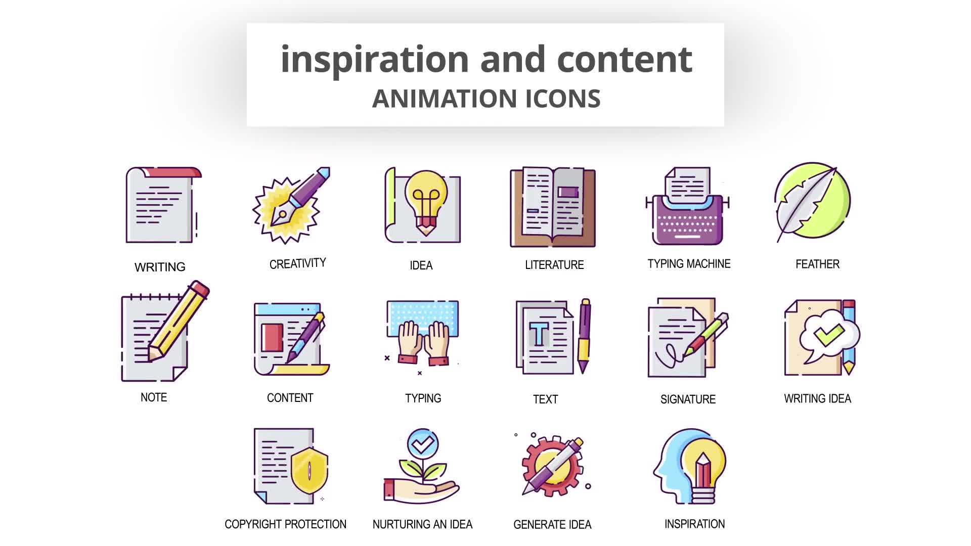 Inspiration & Content Animation Icons Videohive 30041554 After Effects Image 8