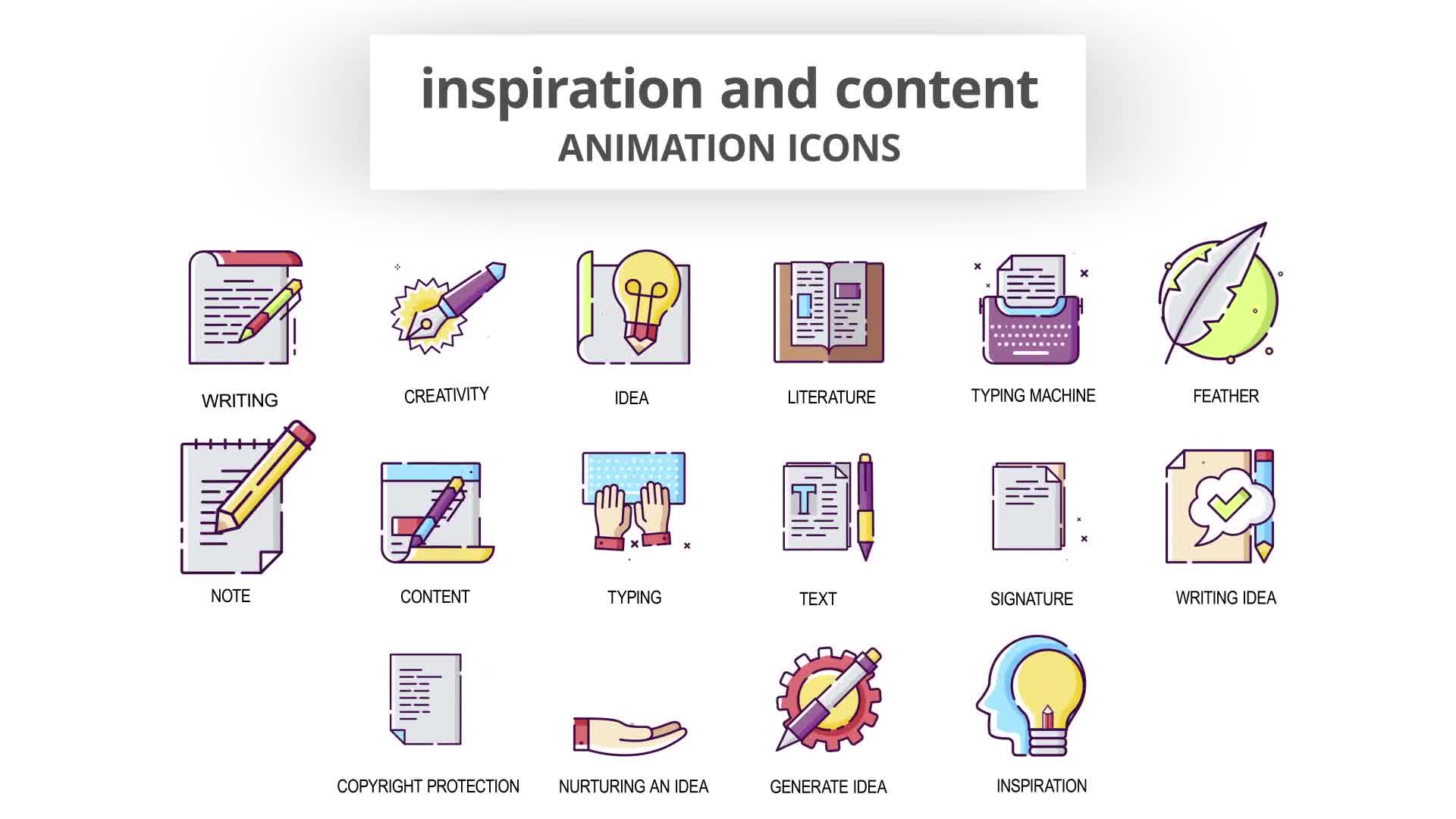 Inspiration & Content Animation Icons Videohive 30041554 After Effects Image 9