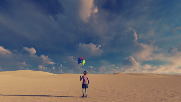 Little Girl and Desert Surreal Background Video - Download Videohive 21288435