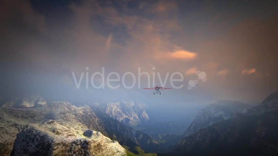 Little Red Airplane Flying Over Mountains - Download Videohive 19162994