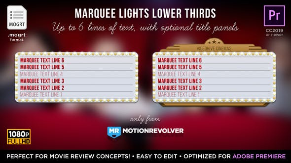 Marquee Lights Titles & Lower Thirds | MOGRT for Premiere Pro - Download 24552539 Videohive