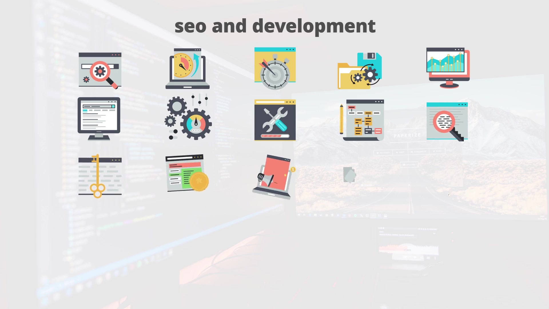 SEO And Development Flat Animation Icons - Download Videohive 23465984