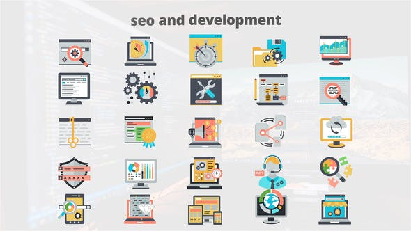 SEO And Development Flat Animation Icons - Download