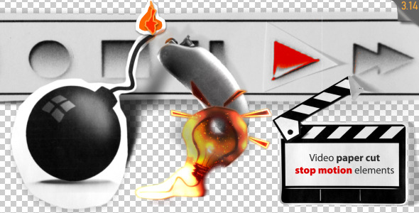 Stop Motion Video Paper Cut Elements - Download Videohive 3213280