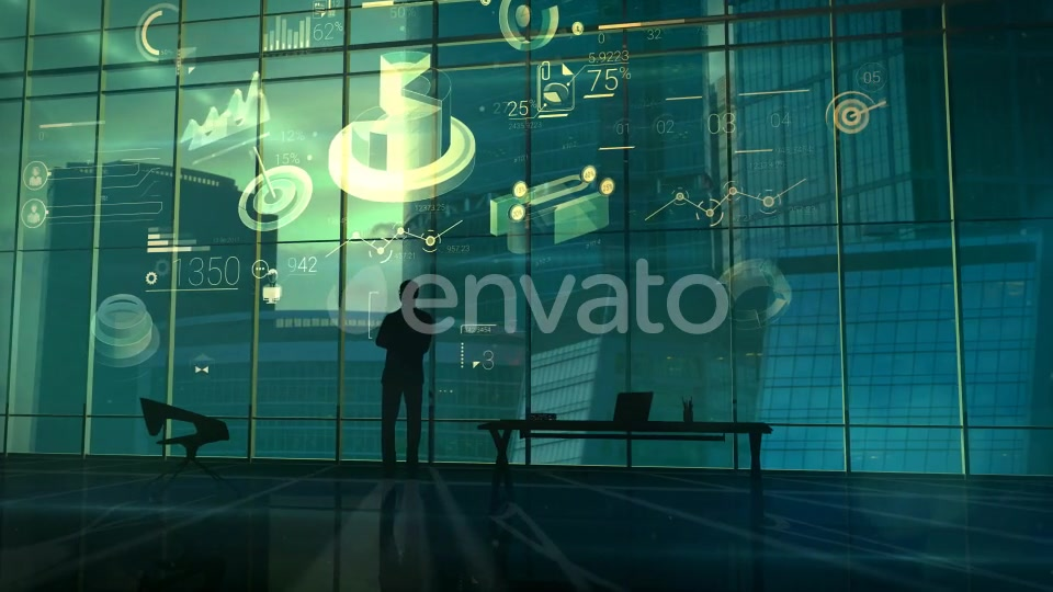 Successful Businessman In A Large Office On The Background Of Infographics - Download Videohive 21997165