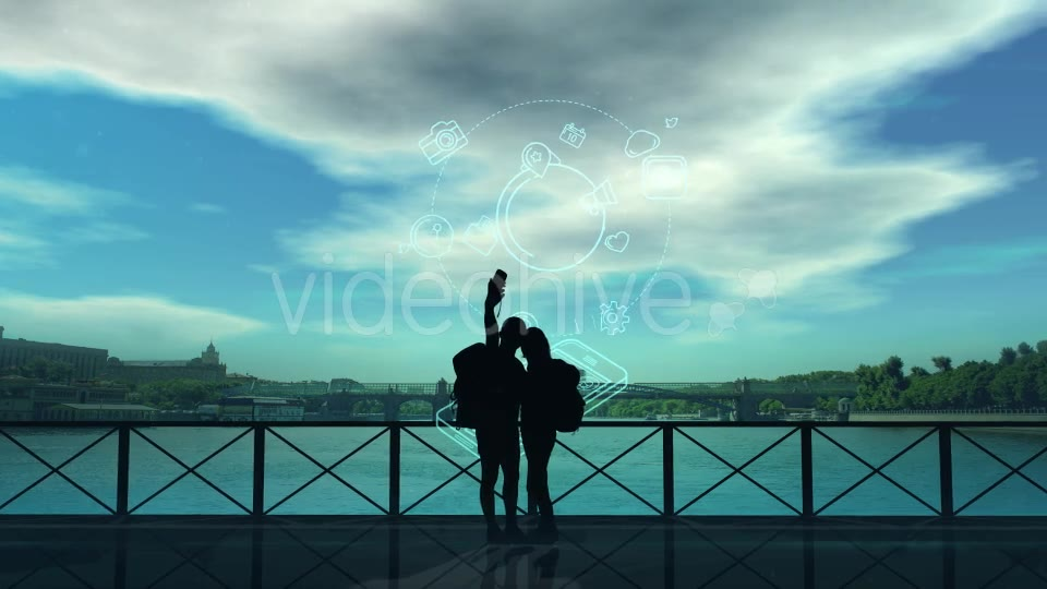 Tourists Do Selfie On The Background Of The River - Download Videohive 21217471