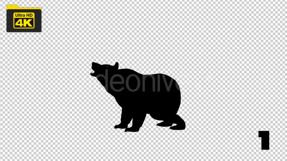 4K Bear Silhouettes 5 Pack Videohive 19722567 Motion Graphics Image 1