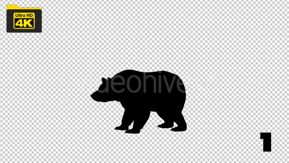 4K Bear Silhouettes 5 Pack Videohive 19722567 Motion Graphics Image 2