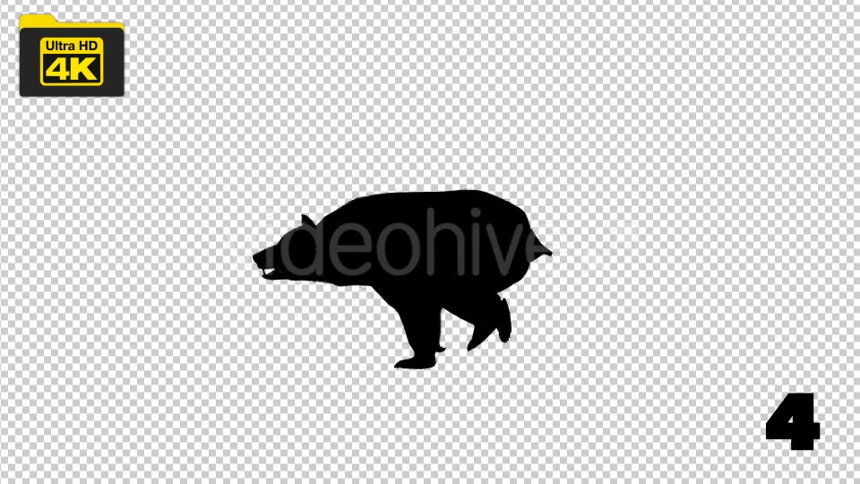 4K Bear Silhouettes 5 Pack Videohive 19722567 Motion Graphics Image 6