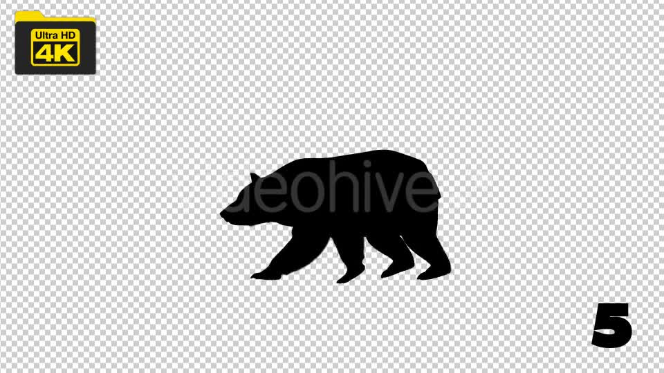 4K Bear Silhouettes 5 Pack Videohive 19722567 Motion Graphics Image 8