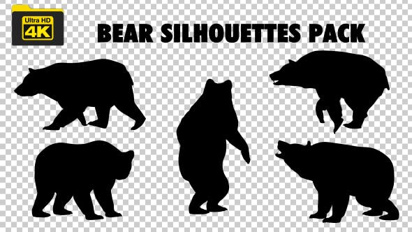 4K Bear Silhouettes 5 Pack - 19722567 Videohive Download
