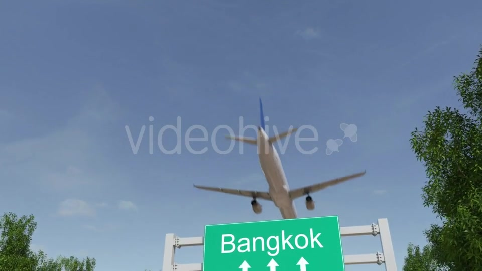 Airplane Arriving To Bangkok Airport Travelling To Thailand Videohive 19728676 Motion Graphics Image 2