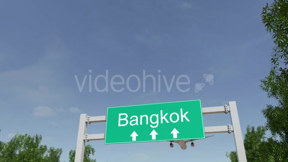 Airplane Arriving To Bangkok Airport Travelling To Thailand Videohive 19728676 Motion Graphics Image 3