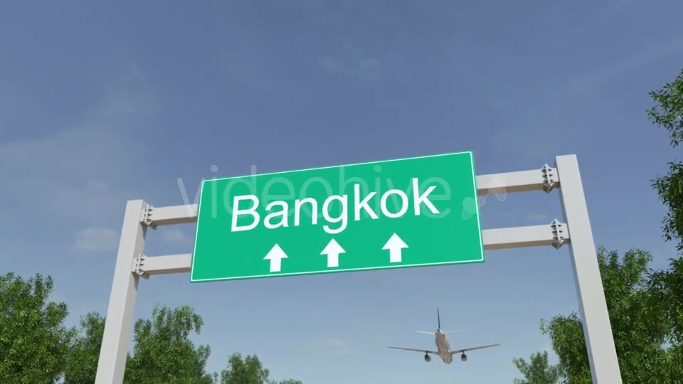 Airplane Arriving To Bangkok Airport Travelling To Thailand Videohive 19728676 Motion Graphics Image 4