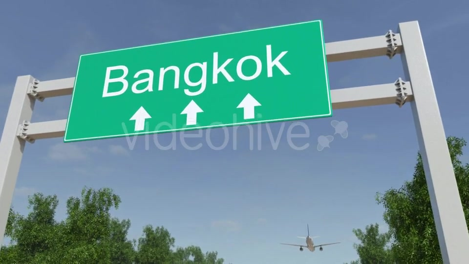 Airplane Arriving To Bangkok Airport Travelling To Thailand Videohive 19728676 Motion Graphics Image 5