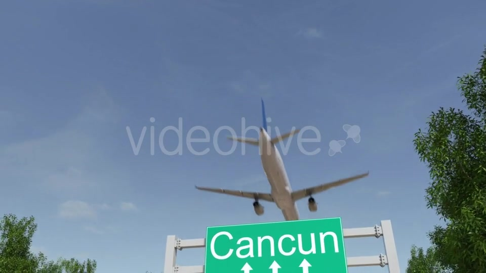 Airplane Arriving To Cancun Airport Travelling To Mexico Videohive 19728940 Motion Graphics Image 2