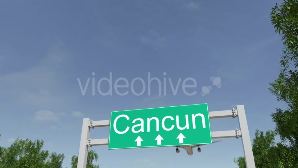 Airplane Arriving To Cancun Airport Travelling To Mexico Videohive 19728940 Motion Graphics Image 3