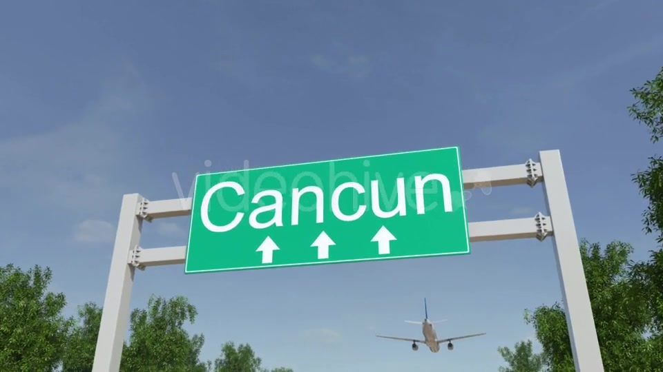 Airplane Arriving To Cancun Airport Travelling To Mexico Videohive 19728940 Motion Graphics Image 4