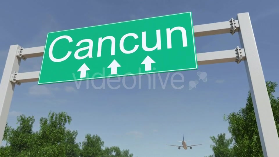 Airplane Arriving To Cancun Airport Travelling To Mexico Videohive 19728940 Motion Graphics Image 5