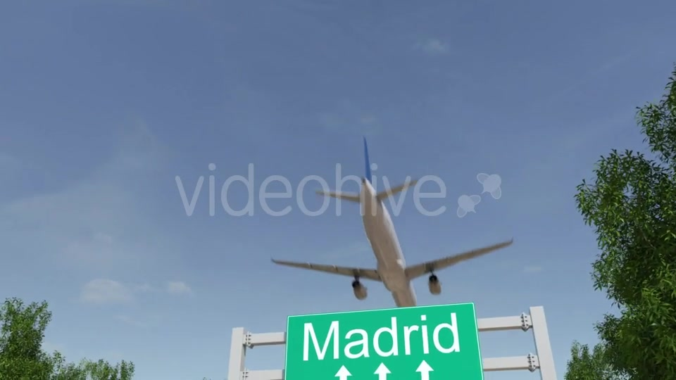 Airplane Arriving To Madrid Airport Travelling To Spain Videohive 19730621 Motion Graphics Image 2