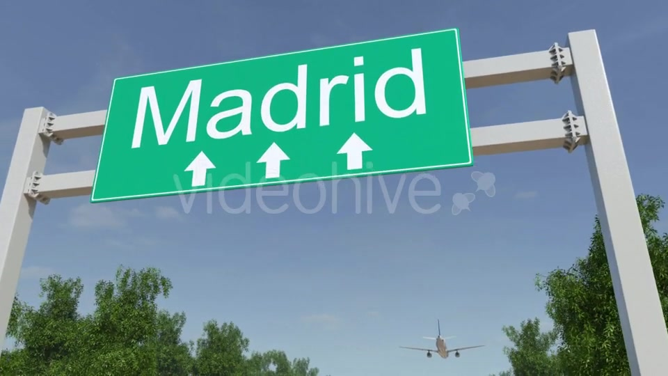 Airplane Arriving To Madrid Airport Travelling To Spain Videohive 19730621 Motion Graphics Image 5
