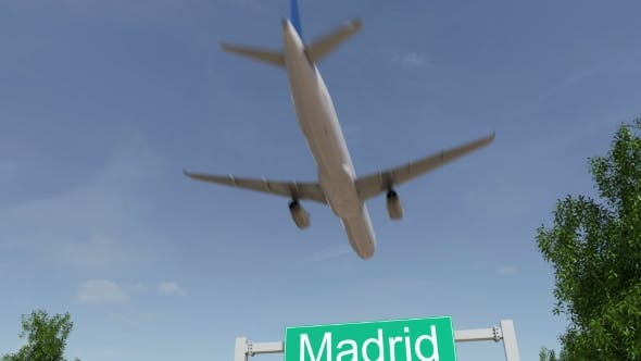 Airplane Arriving To Madrid Airport Travelling To Spain - 19730621 Download Videohive