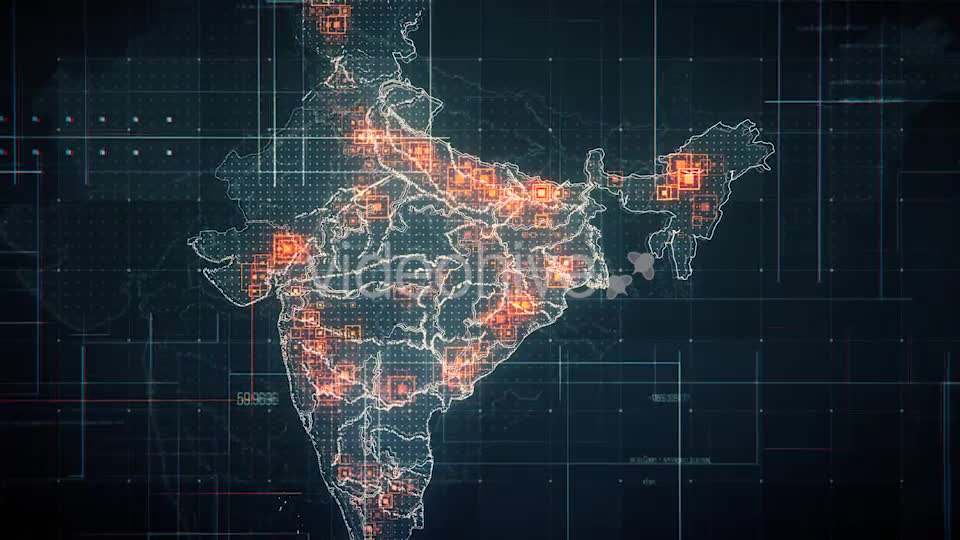 Black India Map with Lines Rollback Camera 4K Videohive 19768772 Motion Graphics Image 1