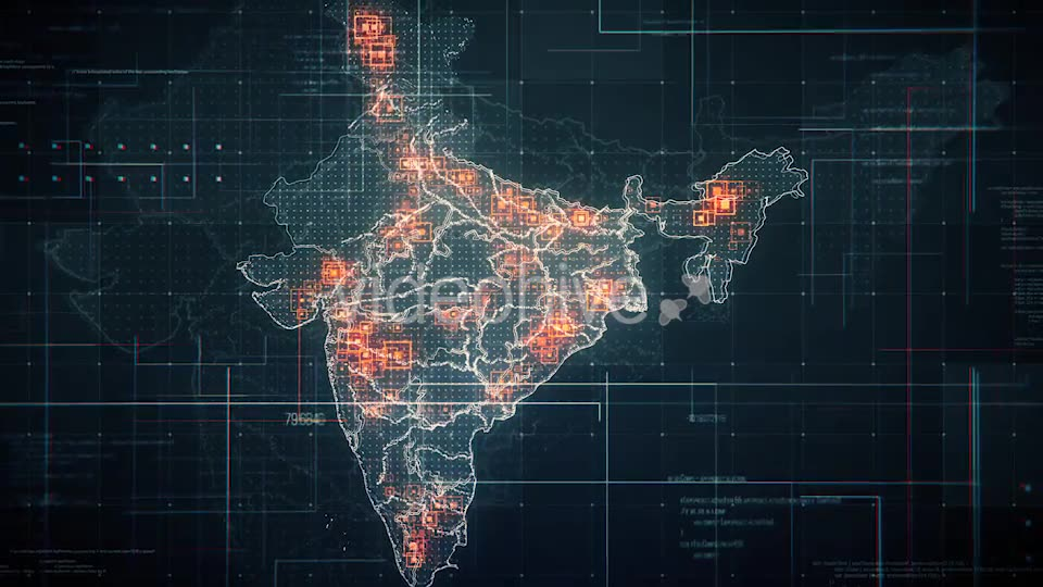 Black India Map with Lines Rollback Camera 4K Videohive 19768772 Motion Graphics Image 2