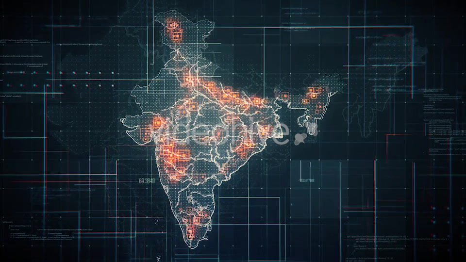 Black India Map with Lines Rollback Camera 4K Videohive 19768772 Motion Graphics Image 4