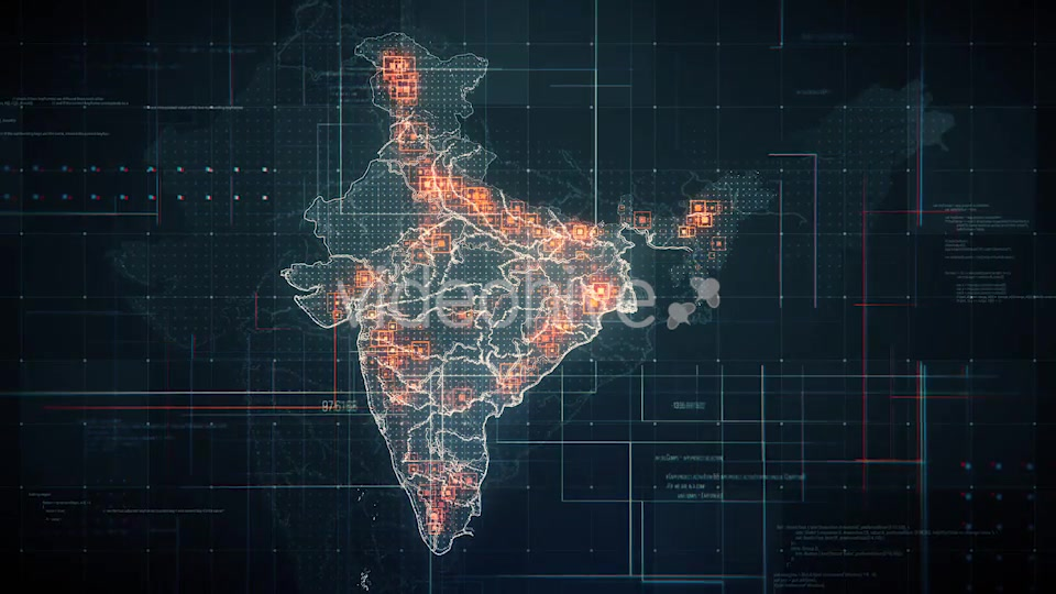 Black India Map with Lines Rollback Camera 4K Videohive 19768772 Motion Graphics Image 5